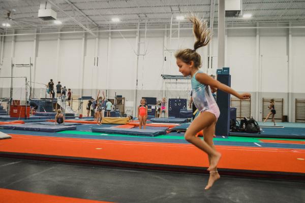 Gymnast enjoys the Tumbl Trak